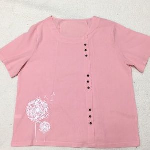 Tops - Pretty rosy pink shirt short sleeves top 3X NWOT
